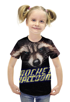 """Футболка с полной запечаткой для девочек """"ROCKET RACCOON"""" - комикс, взгляд, енот, ракета, стражи галактики"""