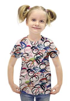 """Футболка с полной запечаткой для девочек """"Велосипедисты"""" - абстракция"""