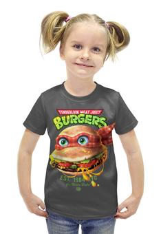 """Футболка с полной запечаткой для девочек """"Burgers """" - черепашка"""
