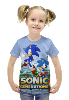 "Футболка с полной запечаткой для девочек ""Sonic Generations Green Hill Zone"" - sonic, sega, hedgehog, generations, green hill"