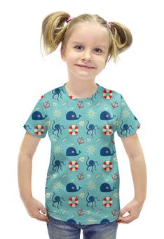 """Футболка с полной запечаткой для девочек """"Морские обитатели"""" - море, якоря, спасательный круг, киты, осминоги"""