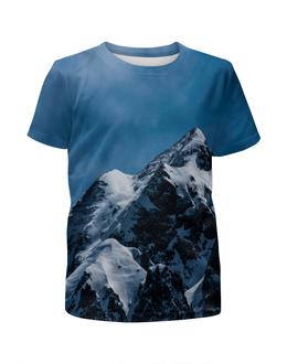 """Футболка с полной запечаткой для девочек """"Снег в горах"""" - снег, небо, природа, горы, пейзаж"""