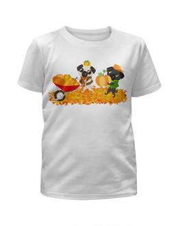 """Футболка с полной запечаткой для девочек """"Мопсы и тыквы."""" - юмор, осень, природа, тыква, мопс"""