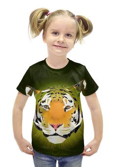 """Футболка с полной запечаткой для девочек """"Тигр """" - большая кошка"""