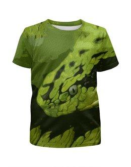 """Футболка с полной запечаткой для девочек """"Змея """" - змея, зеленый, опасный, ядовитый, гад"""