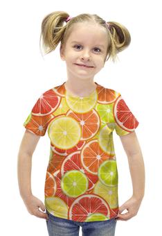 """Футболка с полной запечаткой для девочек """"Цитрусы"""" - апельсин, лайм, лимон, грейпфрут, дольки"""