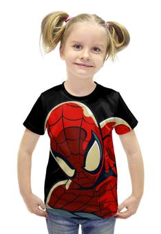 """Футболка с полной запечаткой для девочек """"ЧЕЛОВЕК ПАУК!!!"""" - комиксы, супергерой, spider man, человек паук, марвел"""