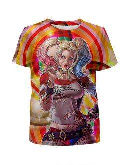 """Футболка с полной запечаткой для девочек """"Harley Quinn Design"""" - харли квинн, harley quinn, суперзлодейка, отряд самоубийц, любителям комиксов"""