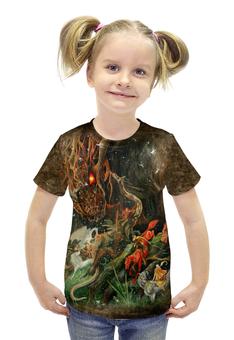 """Футболка с полной запечаткой для девочек """"Сумрак Волшебной Рощи"""" - авторские майки, животные, лес, фантазия"""