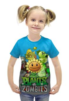 """Футболка с полной запечаткой для девочек """"Plants vs. Zombies"""" - зомби против растений"""