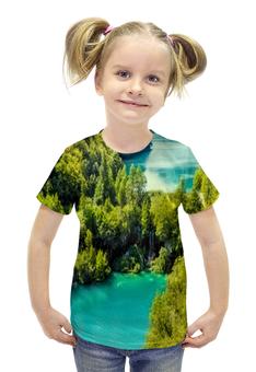 """Футболка с полной запечаткой для девочек """"Природа"""" - страны, красота, природа, река, водопад"""