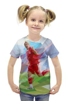 """Футболка с полной запечаткой для девочек """"Футбольная мозайка Фернандо Торрес"""" - футбол, арт, абстракция, фернандо торрес"""