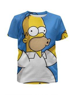"""Футболка с полной запечаткой для девочек """"гомер , симпсоны , The Simpsons , мультики"""" - мультики, гомер, симпсоны, the simpsons"""