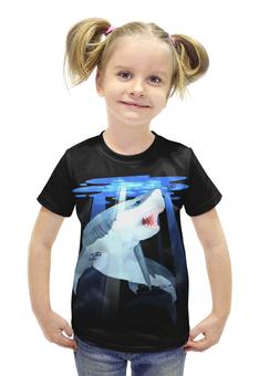 """Футболка с полной запечаткой для девочек """"Акула """" - большая рыбка"""