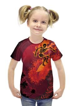 """Футболка с полной запечаткой для девочек """"Огненная волна"""" - череп, скелет, огонь, пальмы, сёрфинг"""