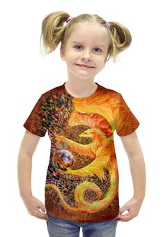 """Футболка с полной запечаткой для девочек """"Сотворение"""" - арт, авторские майки, дракон, огонь, фэнтези"""