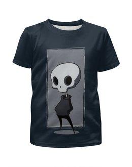 """Футболка с полной запечаткой для девочек """"НЛО.   """" - череп, юмор, скелет"""