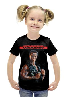 """Футболка с полной запечаткой для девочек """"Arnold Schwarzenegger (Commando)"""" - кино, arnold schwarzenegger, арнольд шварцнегер, commando, командос"""