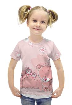 """Футболка с полной запечаткой для девочек """"Лапочка мишка"""" - милый мишка, мишка на полянке, любимый мишка"""