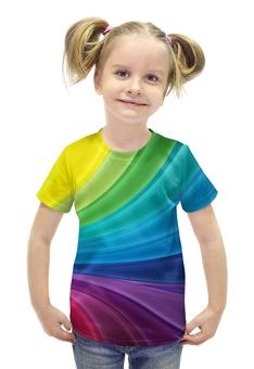 """Футболка с полной запечаткой для девочек """"радуга"""" - арт, лето, радуга, ярко, молодежно"""