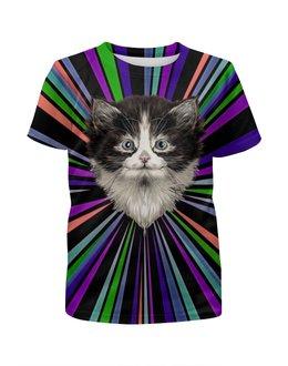 """Футболка с полной запечаткой для девочек """"Морда кота"""" - коты, котики, животные, cat, кошка"""