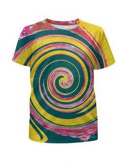 """Футболка с полной запечаткой для девочек """"Спиральность"""" - спираль, желтый, зеленый, розовый, кольца"""