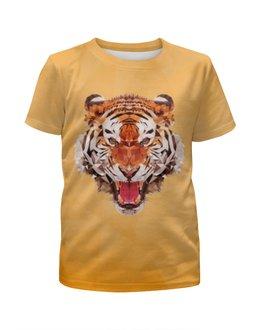 """Футболка с полной запечаткой для девочек """"Полигональный тигр"""" - арт, тигр, звери"""