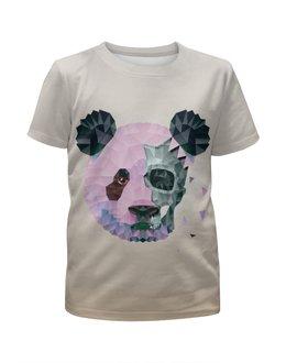 """Футболка с полной запечаткой для девочек """"Polygonal panda"""" - череп, панда, треугольник, полигон, makslangedesign"""