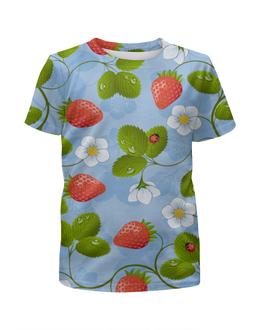 """Футболка с полной запечаткой для девочек """"Клубника"""" - лето, цветы, ягоды, клубника, божья коровка"""