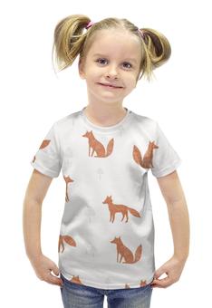 """Футболка с полной запечаткой для девочек """"The Fox"""" - животные, лес, иллюстрация, fox, лиса"""