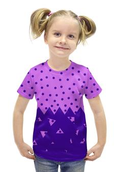 """Футболка с полной запечаткой для девочек """"Падающие треугольники"""" - сиреневый, фиолетовый, треугольник, горох, половина"""