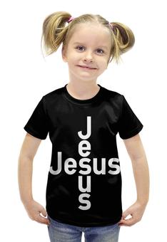 """Футболка с полной запечаткой для девочек """"""""Но Он изъявлен был.."""" Исаия 53:5"""" - jesus, иисус, христианские футболки, исаия"""