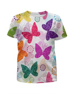 """Футболка с полной запечаткой для девочек """"Бабочки"""" - бабочки, бабочка, насекомые, узор, крылья"""