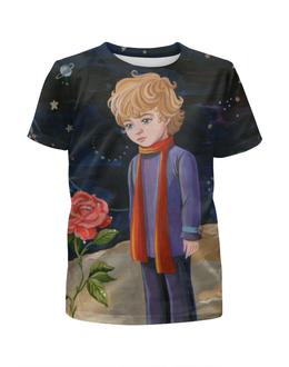 """Футболка с полной запечаткой для девочек """"Маленький принц"""" - роза, маленький принц, экзюпери"""