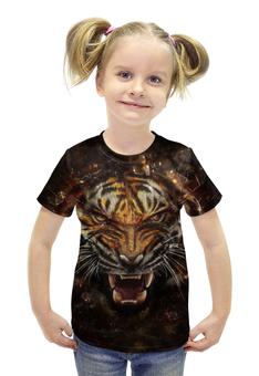"""Футболка с полной запечаткой для девочек """"Ревущий тигр"""" - зверь"""