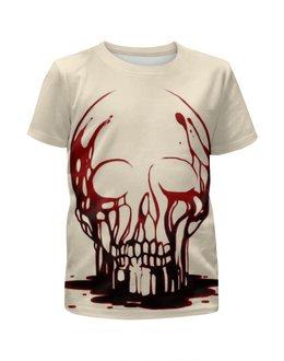 """Футболка с полной запечаткой для девочек """"Skull Art"""" - skull, череп, кровь, blood, artwork"""