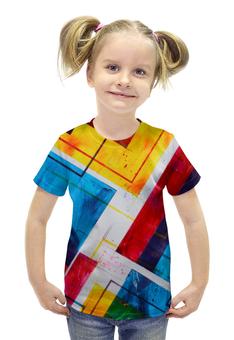 """Футболка с полной запечаткой для девочек """"Абстракция 3D"""" - краски, 3d"""