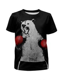 """Футболка с полной запечаткой для девочек """"Медведь Боксёр"""" - спорт, медведь, бокс"""