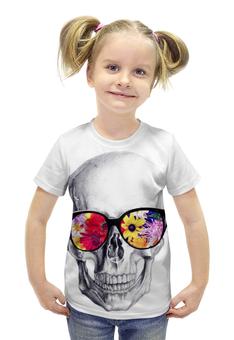 """Футболка с полной запечаткой для девочек """"Skull Art"""" - skull, череп, цветы, очки, череп в очках"""