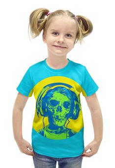 """Футболка с полной запечаткой для девочек """"I love music (череп в наушниках)"""" - skull, череп, пластинка, наушкини, love music"""