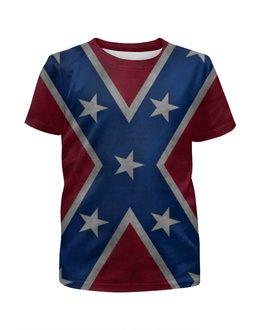 """Футболка с полной запечаткой для девочек """"Флаг Конфедерации США"""" - америка, usa, flag, confederation, флаг конфедерации"""