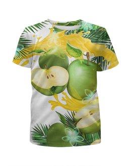 """Футболка с полной запечаткой для девочек """"Яблоки"""" - фрукты, рисунок, яблоки"""