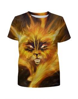"""Футболка с полной запечаткой для девочек """"огненный кот"""" - кот, огонь, котик"""