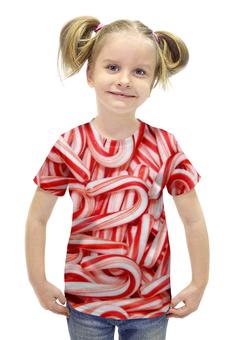 """Футболка с полной запечаткой для девочек """"Леденцы 3D"""" - конфеты, рождество, санта, леденцы"""