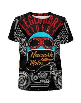"""Футболка с полной запечаткой для девочек """"Legendary riders"""" - мотоцикл, скорость, гонщик, транспорт, крылья"""