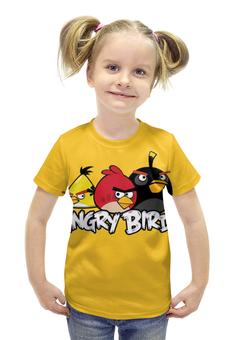 """Футболка с полной запечаткой для девочек """"Angry birds """" - птички"""