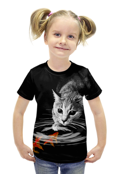 """Футболка с полной запечаткой для девочек """"Кот и Рыбки"""" - кот, коты, рыба, золотые рыбки"""