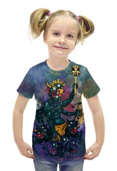 """Футболка с полной запечаткой для девочек """"Яма - Царь смерти и справедливости"""" - арт, авторские майки, религия, индуизм, мифология"""