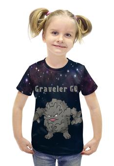 """Футболка с полной запечаткой для девочек """"Покемон Гравелер"""" - pokemon, покемон, каменный, гравелер, graveler"""