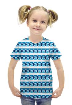 """Футболка с полной запечаткой для девочек """"Абстрактные голубые треугольники"""" - авторская майка, абстрактный, теугольник"""